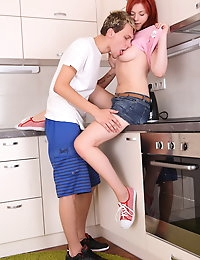 Sabina is a flirt and the moment she joins him in the kitchen she makes it perfectly clear she's not there to chat. This chick wants to get fucked and her blowjob is deeply arousing and leaves him fully erect and ready to party. Banging her shaved pussy on the kitchen floor is hot and he unloads a creampie inside her pussy as she rides.