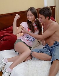 Dulce is not what you would call a sweet shy teen girl. Sweet yes but definitely not shy at all. It takes her no time at all to work her boyfriend's dick between her lips, sucking cock with a lot of enthusiasm. He fucks the hell out of her pussy until his huge wang explodes his jizz in her beautiful tight teen snatch.