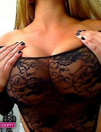 Layla Lynn teasing in a black lace teddy