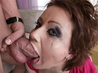 Young Suzy opens her mouth and lets him use it as a fuck hole in the hot deepthroat gagging blowjob video. He fucks her face and makes her choke, gag, and spit up, leaving a mess all over her pretty face. Upside down face fucking is the messiest and his cum soon joins the mucous all on her face.
