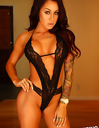 Stunning Alluring Vixen babe Venessa shows off her perfect curves in her black lace lingerie