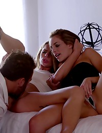Kimmy Granger and Sydney Cole distract their lover with a double blowjob and a passionate threesome fuck fest